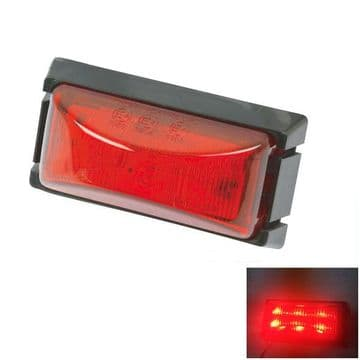 2 x 12v to 30v RED SIDE MARKER 6 LED LIGHTS trailer lamps truck - 'E' approved
